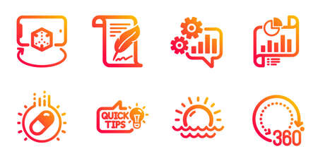 Education idea, Feather and Cogwheel line icons set. Capsule pill, Augmented reality and Sunset signs. Report document, 360 degrees symbols. Quick tips, Copyright page. Science set. Vector Иллюстрация