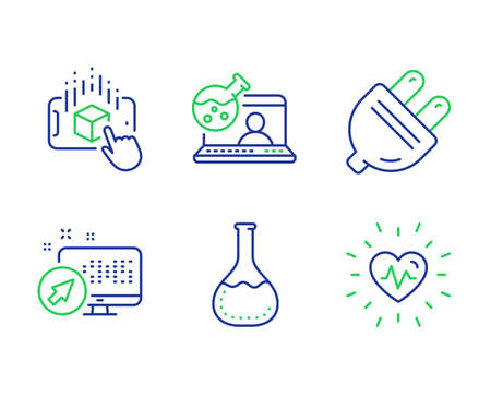 Chemistry lab, Electric plug and Online chemistry line icons set. Augmented reality, Web system and Heartbeat signs. Laboratory, Energy, Lab flask. Phone simulation. Science set. Vector