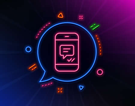 Phone Message line icon. Neon laser lights. Mobile chat sign. Conversation or SMS symbol. Glow laser speech bubble. Neon lights chat bubble. Banner badge with message icon. Vector