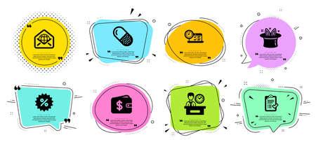 Píldora cápsula, descuento y conjunto de iconos de línea de billetera de dólar. Charla de burbujas con citas. Hat-trick, correo web y señales de prueba en línea. Lista de verificación aprobada, símbolos de tiempo de presentación. Vector
