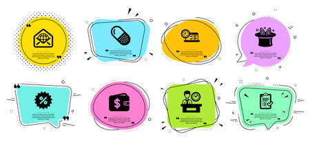 Capsule pill, Discount and Dollar wallet line icons set. Chat bubbles with quotes. Hat-trick, Web mail and Online test signs. Approved checklist, Presentation time symbols. Vector
