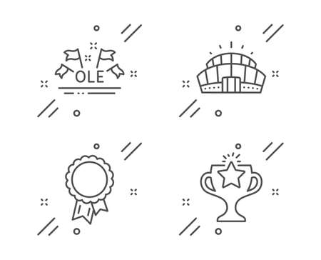 Success, Arena stadium and Ole chant line icons set. Victory sign. Award reward, Competition building, Sport championship. Championship prize. Sports set. Line success outline icon. Vector