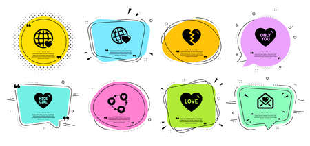 Break up, Nice girl and Friends world line icons set. Chat bubbles with quotes. Love, Only you and Love letter signs. Friends community symbol. Divorce, Sweetheart. Love set. Vector Ilustracja