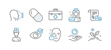 Set of Healthcare icons, such as Nurse, Capsule pill, Face id, Medical prescription, First aid, Healthy face, Doctor, Check eye, Sun protection, Grow plant line icons. Line nurse icon. Vector Çizim