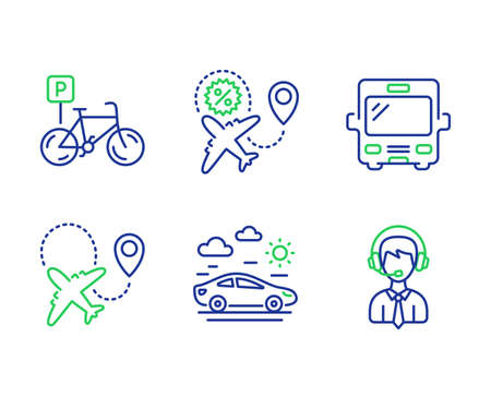 Airplane, Bicycle parking and Flight sale line icons set. Bus, Car travel and Shipping support signs. Plane, Bike park, Travel discount. Tourism transport. Transportation set. Vector Иллюстрация