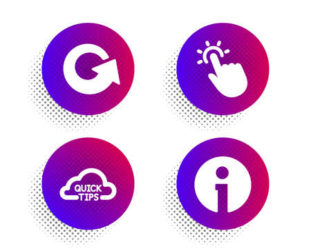 Quick tips, Touchpoint and Reload icons simple set. Halftone dots button. Info sign. Helpful tricks, Touch technology, Update. Information. Technology set. Classic flat quick tips icon. Vector Иллюстрация