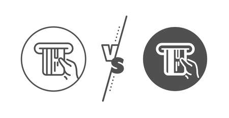 Hold Banking Payment card sign. Versus concept. Credit card line icon. ATM service symbol. Line vs classic credit card icon. Vector 向量圖像
