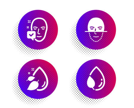 Water drop, Face recognition and Face accepted icons simple set. Halftone dots button. Leaf dew sign. Serum oil, Faces biometrics, Access granted. Water drop. Healthcare set. Vector Illustration