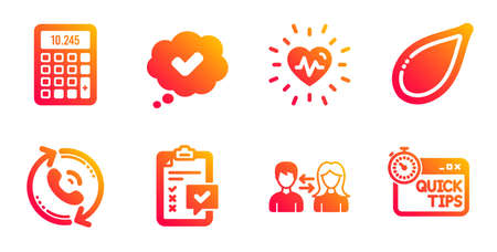 Approved, Pumpkin seed and People communication line icons set. Checklist, Heartbeat and Calculator signs. Call center, Quick tips symbols. Comic message, Vegetarian food. Business set. Vector