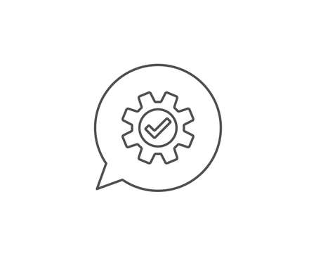 Cogwheel line icon. Chat bubble design. Approved Service sign. Transmission Rotation Mechanism symbol. Outline concept. Thin line service icon. Vector
