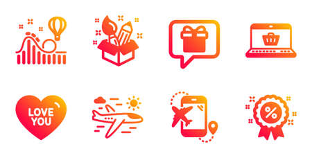 Creativity, Love you and Wish list line icons set. Online shopping, Roller coaster and Flight destination signs. Airplane travel, Discount symbols. Design idea, Sweetheart. Holidays set. Vector