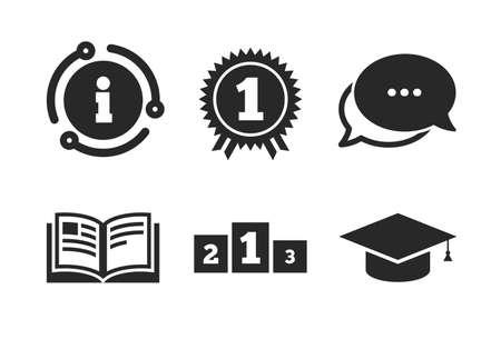 Graduation student cap sign. Chat, info sign. Graduation icons. Education book symbol. First place award. Winners podium. Classic style speech bubble icon. Vector Ilustração