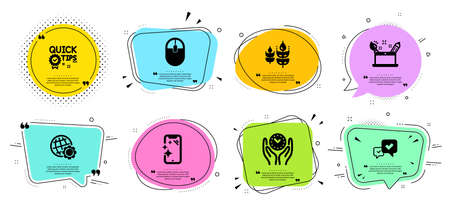 Quick tips, Smartphone clean and Computer mouse line icons set. Chat bubbles with quotes. Gluten free, Approve and Creativity concept signs. Globe, Safe time symbols. Vector