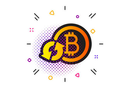 Refresh cryptocurrency coin sign. Halftone circles pattern. Bitcoin icon. Crypto money symbol. Classic flat refresh bitcoin icon. Vector Ilustração