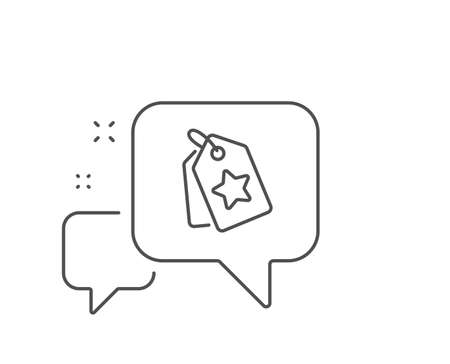 Loyalty star tags line icon. Chat bubble design. Bonus points. Discount program symbol. Outline concept. Thin line loyalty tags icon. Vector Illustration