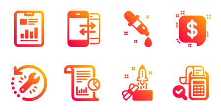 Report, Chemistry pipette and Recovery tool line icons set. Report document, Phone communication and Innovation signs. Payment message, Bill accounting symbols. Work analysis, Laboratory. Vector Stock Illustratie