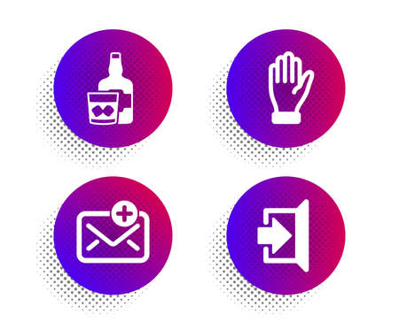 Hand, Whiskey glass and New mail icons simple set. Halftone dots button. Exit sign. Waving palm, Scotch drink, Add e-mail. Escape. Business set. Classic flat hand icon. Vector Ilustrace