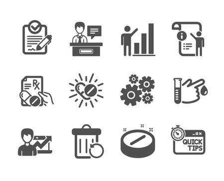 Set of Science icons, such as Rfp, Recovery trash, Graph chart, Exhibitors, Medical drugs, Medical tablet, Success business, Manual doc, Blood donation, Prescription drugs, Cogwheel. Rfp icon. Vector