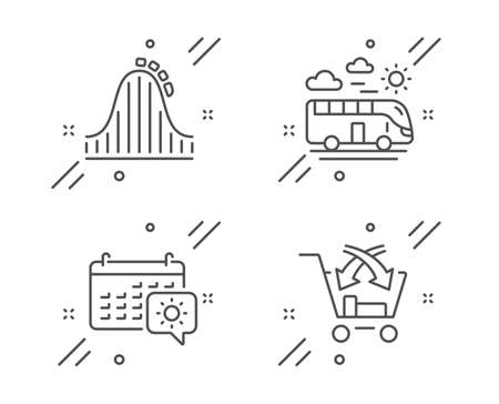 Roller coaster, Bus travel and Travel calendar line icons set. Cross sell sign. Attraction park, Transport, Trip planning. Market retail. Holidays set. Line roller coaster outline icon. Vector