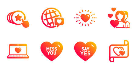 Heart, Miss you and Web love line icons set. World brand, Couple and Hold heart signs. Say yes, Love letter symbols. Social network, Valentines day. Love set. Gradient heart icons set. Vector Illustration