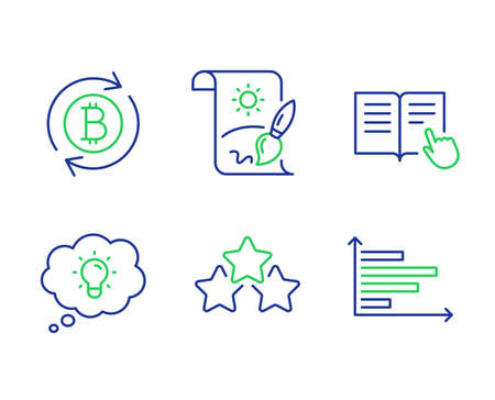 Creative painting, Energy and Read instruction line icons set. Ranking stars, Refresh bitcoin and Horizontal chart signs. Graphic art, Lightbulb, Opened book. Winner award. Business set. Vector