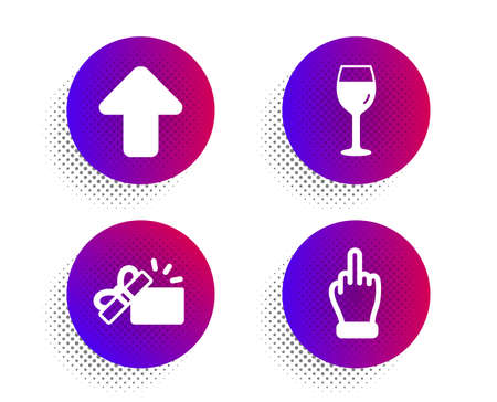 Opened gift, Upload and Wine glass icons simple set. Halftone dots button. Middle finger sign. Present box, Load arrowhead, Bordeaux glass. Gesture. Business set. Classic flat opened gift icon. Vector Illustration