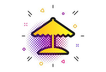Beach umbrella sign icon. Halftone dots pattern. Protection from the sun. Classic flat umbrella icon. Vector