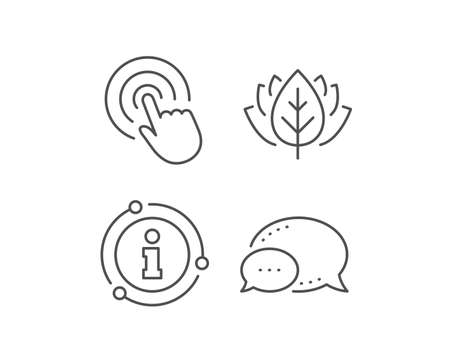 Hand Click line icon. Chat bubble, info sign elements. Finger touch sign. Cursor pointer symbol. Linear click outline icon. Information bubble. Vector