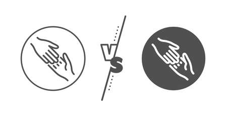 Give gesture sign. Versus concept. Helping hand line icon. Charity palm symbol. Line vs classic helping hand icon. Vector