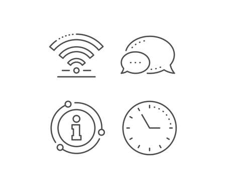 Wifi line icon. Chat bubble, info sign elements. Wireless internet sign. Hotel service symbol. Linear wifi outline icon. Information bubble. Vector 向量圖像