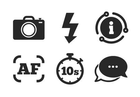 Flash light and autofocus AF symbols. Chat, info sign. Photo camera icon. Stopwatch timer 10 seconds sign. Classic style speech bubble icon. Vector
