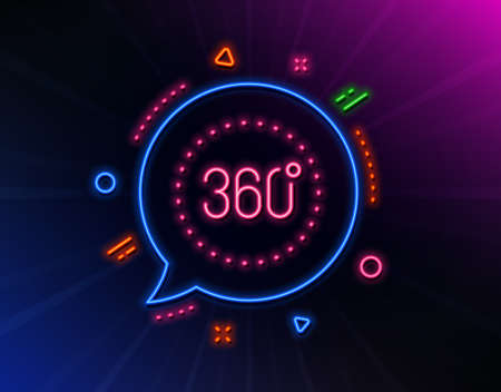 360 degrees line icon. Neon laser lights. Panoramic view sign. VR technology simulation symbol. Glow laser speech bubble. Neon lights chat bubble. Banner badge with 360 degrees icon. Vector