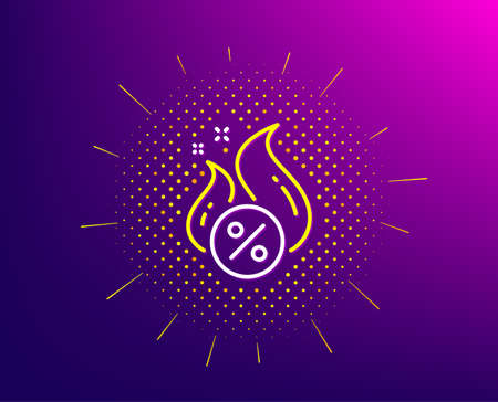 Loan percent line icon. Halftone pattern. Hot discount sign. Credit percentage symbol. Gradient background. Hot loan line icon. Yellow halftone pattern. Vector Иллюстрация