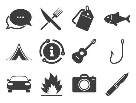 Fishing, campfire and tourist tent signs. Discount offer tag, chat, info icon. Camping travel icons. Guitar music, fork and knife symbols. Classic style signs set. Vector
