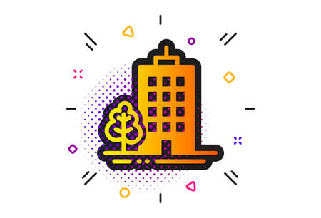 City architecture with tree sign. Halftone circles pattern. Skyscraper buildings icon. Town symbol. Classic flat skyscraper buildings icon. Vector