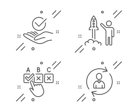 Launch project, Correct checkbox and Approved line icons set. Person info sign. Business innovation, Answer, Verified symbol. Refresh user data. People set. Line launch project outline icon. Vector