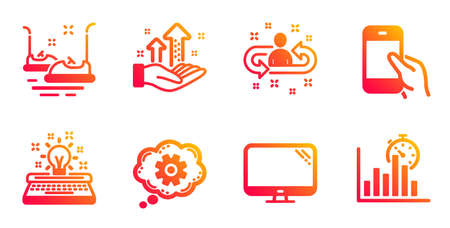 Hold smartphone, Analysis graph and Computer line icons set. Bumper cars, Typewriter and Cogwheel signs. Recruitment, Report timer symbols. Phone call, Targeting chart. Technology set. Vector Иллюстрация