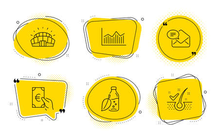 Water bottle, Sports stadium and Anti-dandruff flakes signs. Chat bubbles. Finance, Money diagram and New mail line icons set. Eur cash, Currency diagram, Received e-mail. Mint leaf drink. Vector