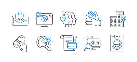 Set of Business icons, such as Capsule pill, Payment card, Loan house, Augmented reality, Search, Friends couple, Settings, Clapping hands, Vision test, Laundry line icons. Vector