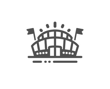 Stadium with flags sign. Sports arena icon. Sport complex symbol. Classic flat style. Simple sports arena icon. Vector  イラスト・ベクター素材