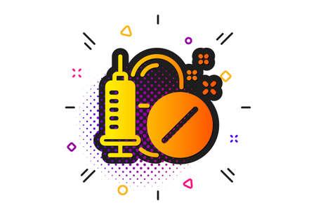 Medicine syringe sign. Halftone circles pattern. Medical drugs icon. Pharmacy medication symbol. Classic flat medical drugs icon. Vector