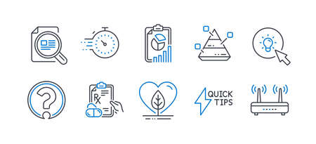 Set of Science icons, such as Report, Timer, Pyramid chart, Quickstart guide, Check article, Question mark, Prescription drugs, Energy, Local grown, Wifi line icons. Line report icon. Vector Ilustracja