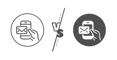 New newsletter sign. Versus concept. Messenger Mail line icon. Phone E-mail symbol. Line vs classic messenger Mail icon. Vector