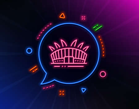 Arena stadium line icon. Neon laser lights. Sport complex sign. Championship building symbol. Glow laser speech bubble. Neon lights chat bubble. Banner badge with arena stadium icon. Vector  イラスト・ベクター素材