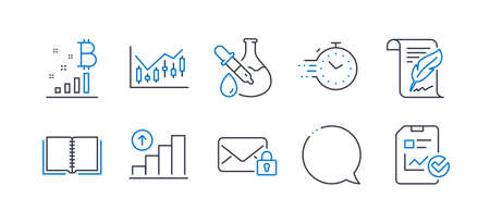 Set of Education icons, such as Timer, Feather, Graph chart, Chemistry experiment, Book, Speech bubble, Bitcoin graph, Secure mail, Financial diagram, Report checklist line icons. Vector