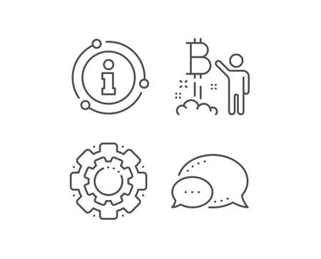 Bitcoin line icon. Chat bubble, info sign elements. Cryptocurrency startup sign. Crypto project symbol. Linear bitcoin project outline icon. Information bubble. Vector