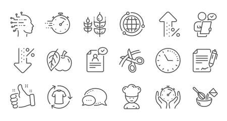 Chef hat, Customer survey, Approved application line icons. Scissors cutting, Artificial intelligence icons. Interest rate, gluten free. Linear set. Quality line set. Vector
