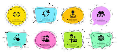 Organic tested, Businessman case and User communication line icons set. Chat bubbles with quotes. Presentation, Swipe up and Human signs. Eyeglasses, Hold box symbols. Vector Ilustracja