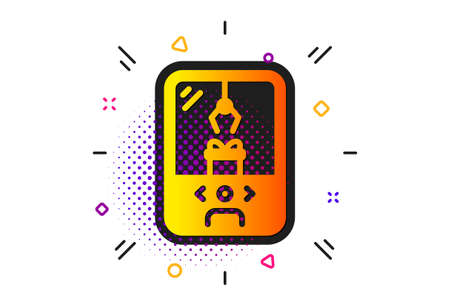 Amusement park sign. Halftone circles pattern. Crane claw machine icon. Carousels symbol. Classic flat crane claw machine icon. Vector