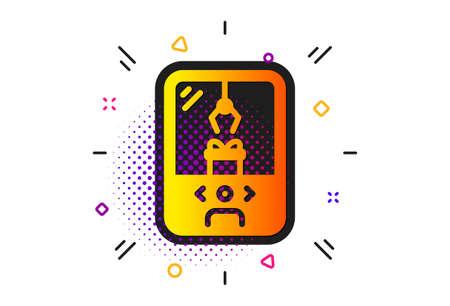 Amusement park sign. Halftone circles pattern. Crane claw machine icon. Carousels symbol. Classic flat crane claw machine icon. Vector